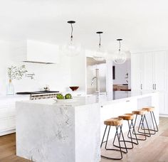 White kitchen and stools