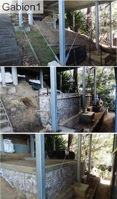 gabion wall adds usable space and storage to basement http://www.gabion1.com.au