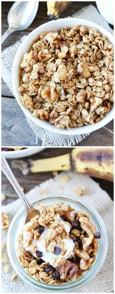 Banana Granola Recipe on twopeasandtheirpod.com This granola tastes just like banana bread! Add chocolate chips for an extra special treat!