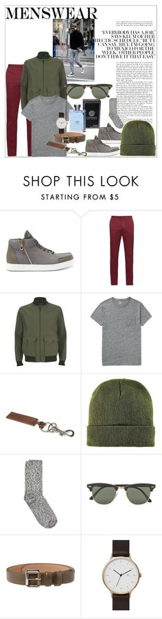 """""""My kinda Guy"""" by cultuerd-stylish ❤ liked on Polyvore featuring Incotex, Knutsford, J.Crew, A.P.C., BoohooMAN, Wigwam, Ray-Ban, Versace, mens と men"""