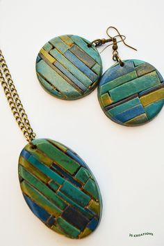 Polymer clay pendant and earrings