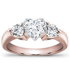 Romantic Heart-Shaped Diamond in a lovely Rose Gold setting.