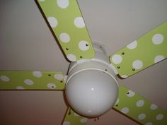 Painted ceiling fan blades to match nursery decor!