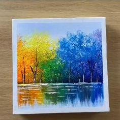 Simple Canvas Paintings, Small Canvas Art, Diy Canvas Art, Acrylic Painting Canvas, Acrylic Art, Easy Paintings, Tree Paintings, Pictures Of Paintings, Beautiful Paintings