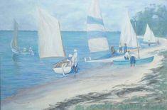 The launch 61x91cm Seascape Paintings, Landscape Paintings, Painter Artist, Classic Paintings, Sunshine Coast, Australian Artists, Figure Painting, Sailing Ships, Product Launch
