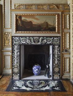 The scagliola chimneypiece in the Queen's Closet at Ham House. ©National Trust Images/John Hammond