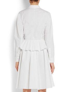 Givenchy - Cotton-poplin Peplum Shirt Dress - White - FR38