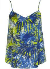 Blue Palm Leaf Cami - Dorothy Perkins
