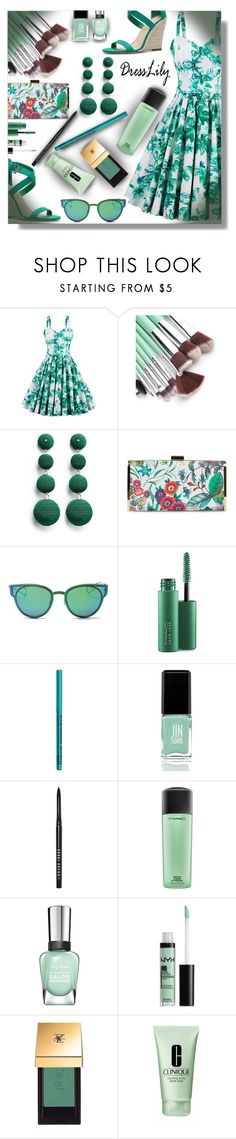 """""""Summer floral dress time - Contest!"""" by sarahguo ❤ liked on Polyvore featuring Kenneth Jay Lane, Jessica McClintock, LMNT, MAC Cosmetics, NYX, JINsoon, Bobbi Brown Cosmetics, Yves Saint Laurent and Clinique"""