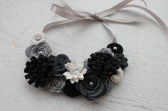 Ready to Ship- Wool Felt Flower Bib Necklace - Black and Greys - Open Tieback