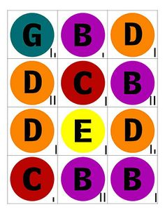 """hand bells charts for """"Christmas Bells"""" song (good site for primary singing time ideas, too)"""