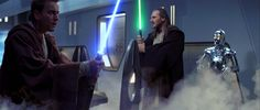 Qui-Gon and Obi-Wan prepare to hold their breath as the Trade Federation floods the chamber where they were waiting with dioxis gas.