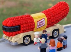 Lego Sculpture Of The Oscar Mayer Weinermobile by Bruce Lowell