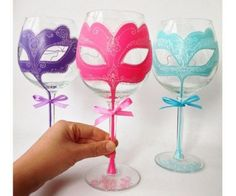 This item is unavailable Hand Painted Wine Glass Party wedding birthday pink duck egg tiffany Personalized Hand Painted Wine Sweet 16 Masquerade, Masquerade Theme, Masquerade Ball, Diy Masquerade Decorations, Masquerade Wedding, Decorated Wine Glasses, Hand Painted Wine Glasses, Do It Yourself Wedding, 50th Birthday Party