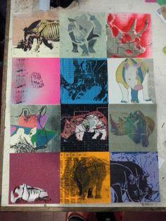 Diseño -  12 tecnicas diferentes #Rinoceronte