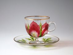 "Decorative glass ""flower pattern glass cup and saucer"""