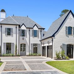 Image may contain: house, sky, tree, plant and outdoor White Exterior Houses, Dream House Exterior, Exterior House Colors, Exterior Design, House Paint Exterior, Hickory House, French Style Homes, French Country House, House Goals
