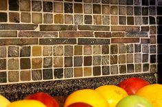 DIY Kitchen Tile BackSplash-without the opposing stripe in the center.