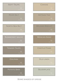 Colors of Greige. Just a small selection of our colors for this pallet of… Kitchen Paint Colors, Room Paint Colors, Interior Paint Colors, Paint Colors For Home, House Colors, Taupe Kitchen, Warm Kitchen, Greige, Paint Color Schemes