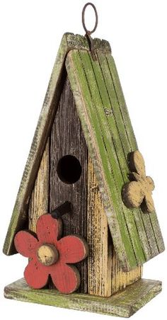 Carson Home Accents Birdhouse 11-Inch High Green Roof