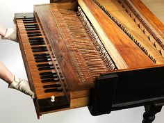 The oldest surviving piano at The Metropolitan Museum. This picture shows the hammer action created by Bartolomeo Cristofori the builder of this instrument and inventor of the piano.
