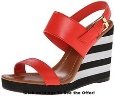 awesome kate spade new york Women's Bina Wedge Sandal Shoe Boots, Shoes Heels, Shoe Bag, Kate Spade Sandals, Striped Shoes, All About Shoes, New Shoes, Wedge Sandals, Me Too Shoes