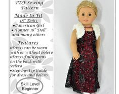 Fall Dress 18 inch doll clothes pattern, for dolls such as American Girl Doll, PDF Sewing Pattern, Doll clothes Easy Sewing Patterns, Doll Clothes Patterns, Doll Patterns, Girl Doll Clothes, Girl Dolls, Ag Dolls, Pleasant Company Dolls, Summer Gowns, Journey Girls