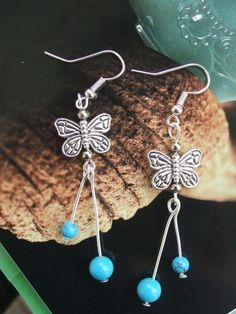 """Ethnic Style Tibetan Silver & Turquoise """"Long Tail Butterfly"""" Earrings"""