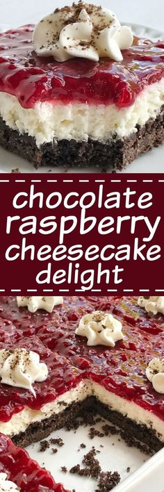Chocolate raspberry cheesecake delight is an almost no-bake dessert with three delicious layers! A chocolate graham cracker crust, creamy sweet cheesecake middle, and topped with raspberry pie filling. (no bake oreo cheesecake graham crackers) No Bake Desserts, Just Desserts, Delicious Desserts, Dessert Recipes, Yummy Food, Desserts With Raspberries, Baking Desserts, Raspberry Desserts, Covered Strawberries