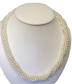 """Elegant, beautiful high quality fresh water cultured pearl oblong shape biwa style, twist/torsade necklace, 18"""" after twist, 925 silver by ClarielDesigns on Etsy"""