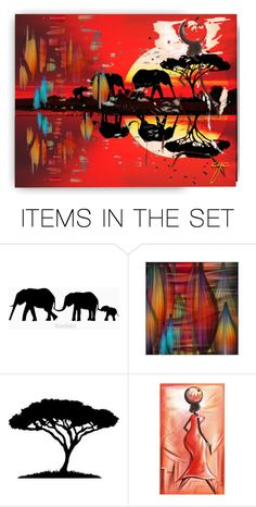 """""""An Elephant Abstract"""" by craftygeminicreation ❤ liked on Polyvore featuring art, sunset, abstract, expression and wall"""