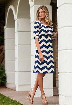 Bold Navy Chevron - Christina Dress, new from DM Fashion