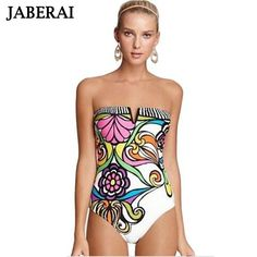 JABERAI Bathing Suit 2017 Floral Bandeau Women Swimwear Sexy Lady Printed Deep V One Piece Swimsuit Push Up Retro 50s 10
