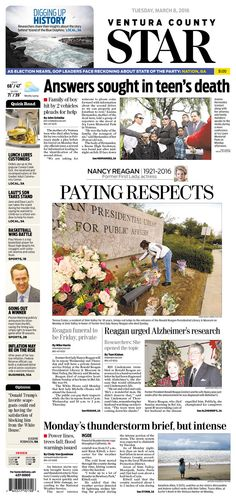 #20160308 #USA #CALIFORNIA #VenturaCA Tuesday MAR 08 2016 #VenturaCountyStar http://www.newseum.org/todaysfrontpages/?tfp_show=80&tfp_page=1&tfp_id=CA_VCS
