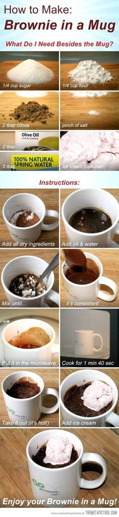 Brownie in a mug!! For a quick chocolate fix! If I had flour I would be making this right now lol