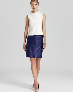 Milly Leather Shell & Leather Skirt | Bloomingdale's
