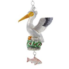 Pelican with Dangle Fish Glass Christmas Holiday Ornament…
