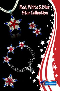 """Red, White & Blue Star Collection  Elegant Star with Red and Blue Enamel and Diamond-like Swarovski Crystals. Aprrox. 1.5""""    Patriotic star necklace; American star neckslide; American patriotic star pin/brooch; American patriotic star earrings; American patriotic star bracelet; http://www.starsandstripesproducts.com/red-white-blue-star-neckslide/"""