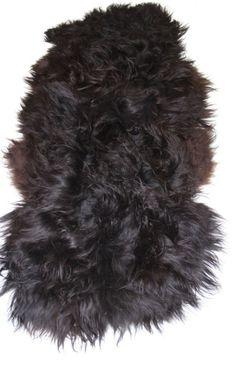 Eco ijslands Schapenvacht tapijt  duo langhaar zwart