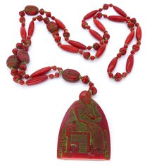 Vintage Art Deco Czech Neiger Scarab Pharaoh Egyptian Red Glass Bead Necklace | Clarice Jewellery | Vintage Costume Jewellery