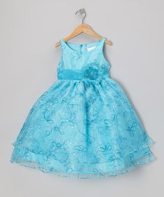 Take a look at this Turquoise Floral Embroidered Tier Dress - Infant, Toddler & Girls by Sophia Young on #zulily today!