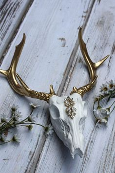White and Gold, Embellished Skull, Painted Skull, Faux Taxidermy, Faux Animal Skull, Gold Antlers, Bedazzled, Deer Skull, Rustic Glam by SimplyGypsyDesigns on Etsy