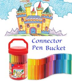 """#FaberCastell30  Day 12 (11/12/2015) Win the playful and colorful Faber-Castell Connector Pen Bucket!   The Connector Pen Bucket includes 50 pens and 10 Connector Clips. Exclusive Connector Pen Caps and Clips offer endless opportunities to make dimensional sculptures from your drawings. To enter today's giveaway, simply """"pin"""" your favorite Faber-Castell Premium Children's Art product on Pinterest. Be sure to tag it with #FaberCastell30 so that we know you entered. Happy Pinning!"""