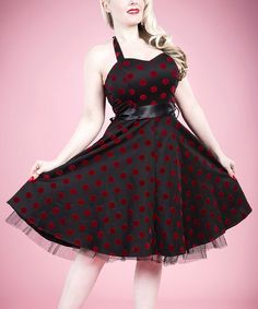 This Black & Red Polka Dot Ribbon Halter Dress - Women by HEARTS & ROSES LONDON is perfect! #zulilyfinds