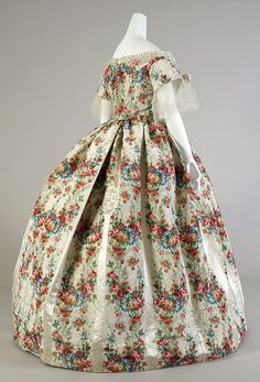 Dinner Dress: ca. 1860, American, silk taffeta patterned with warp printed flowers.