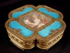 French bronze and enamel covered jewelry box with insert of hand painted ivory