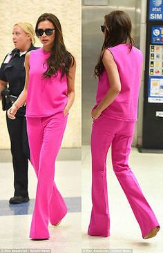 Victoria Beckham for Target Fuchsia Pink Twill Flare Trouser Pant 2 // 8 // 12
