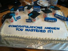 A graduation cake for Andrew who got his masters degree