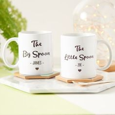 Big Spoon, Little Spoon Personalised Mug Set Big Spoon Little Spoon, Cute Mugs, Personalized Mugs, Mugs Set, Couple Gifts, Creative Business, Unique Gifts, Gifts For Her, Etsy Seller