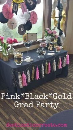 Adults love party favors as much as kids do, especially if it\'s something to eat! CLICK through for favor table ideas from this Black*Gold*Pink graduation Party. Read the post and download FREE PRINTABLES too. http://destinationcreate.com/party-favor-tables-that-adults-will-love/
